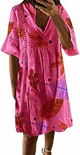 Sommerkleid Leinen Kleider Damen V-Ausschnitt
