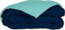 SOMTEX zweifarbig Navy Azur Bettbezug, 100%