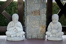 Sonderangebot: Buddhistischer Mönch Doppel Buddha Gartendeko Steinguss frostfes