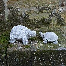 Sonderangebot: Schildkröte-Paar Gartendeko Figuren aus Steinguss frostfes