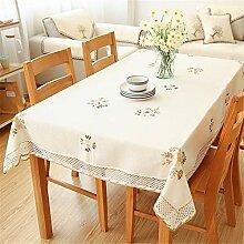 SONGHJ Blumen Tischdecke Weiß Hohlspitze