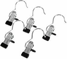 SONGMICS 100 Stück Klammerhaken metall Kleiderbügel Stiefelklammern Antirutsch, 4,5 x 10,5 cm - verchromt CRI001-100