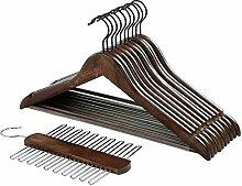 SONGMICS 10er Set Kleiderbügel aus Holz, mit Krawattenhalter für 20 Krawatten, Vintage, Massivholz, mit Hosenstange, 2 Vertiefungen und 360 Grad Drehhaken, CRW01X-10A