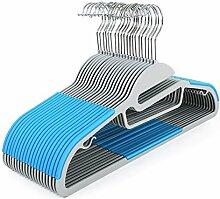 Songmics 20 Stück 0,5 dick Kleiderbügel dünn platzsparend Antirutsch für Kleidung/Anzug/Jacke/Krawatte, aus hochwertigem Kunststoff, Blau CRP41Q