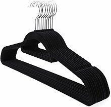 Songmics 20 Stück 0,6 cm dick Anzugbügel Kleiderbügel mit rutschfeste Oberfläche dünn, Samt, Schwarz CRF20B