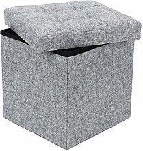 Songmics 38 cm Sitzbank Sitzhocker mit Stauraum faltbar Sitzwürfel Fußablage leinen hellgrau LSF37H