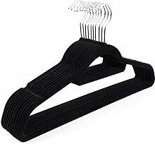 Songmics 50 Stück 0,6 cm dick Anzugbügel Kleiderbügel mit rutschfeste Oberfläche dünn, Samt, Schwarz CRF50B