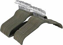 Songmics 50 Stück Samt Anzugbügel Kleiderbügel mit rutschfeste Oberfläche dünn, Grau CRF25G