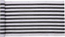 SONGMICS Balkonbespannung Balkonverkleidung Sichtschutz ohne Schrauben aus HDPE 75 x 600 cm Grau - Weiß gestreift GBC75GW