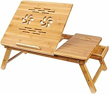SONGMICS Faltbare Laptoptisch Betttisch Tisch höhenverstellbar Notebooktisch Lapdesk für bis 17 Zoll Laptops Bambus Notebook Lese 55*35*(21-29)cm LLD001