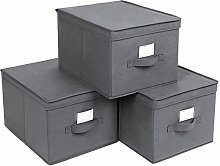 SONGMICS Faltbox mit Deckel, 3 Stück, Faltbare