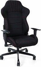 Songmics Gaming Stuhl Bürostuhl Schreibtischstuhl mit Armlehnen, Sportsitz Optik, Polyestergewebe, schwarz 70 x 75 x 111 - 119 cm RCG04B