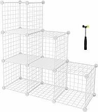 SONGMICS Gitterregal mit 6 Fächer individuell aufstellbares Regalsystem für Badezimmer, Kinderzimmer, Wohnzimmer, für Bücher, Kleidung, Schuhe, Gitterregal und Drahtregal in Einem 96 x 96 x 31,5 cm (B x H x T) LPI111W
