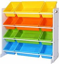Songmics Kinderregal Kinderzimmerregal Spielzeugregal Spielzeugaufbewahrung Kinder Kinderzimmerregal Aufbewahrungsregal für Spielzeug Ordnungsregal mit Aufbewahrungsboxen mehrfarbig GKR04W