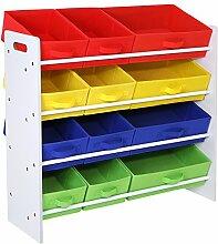 Songmics Kinderregal Kinderzimmerregal Spielzeugregal Spielzeugaufbewahrung Aufbewahrungsregal für Spielzeug Ordnungsregal mit Aufbewahrungsboxen Aufbewahrungskisten aus Vlies-Gewebe mehrfarbigGKR16W