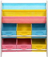 SONGMICS Kinderregal kleines Bücherregal Spielzeugregal weißes Aufbewahrungsregal mit bunten Aufbewahrungsboxen Kindermöbel 67 x 74 x 26,5 cm (B x H x T) GKR36WT