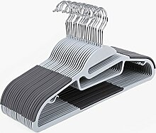 SONGMICS Kleiderbügel - 20 Stück 0,5cm dick Kleiderbügel dünn platzsparend Antirutsch für Kleidung/Anzug/Jacke/Krawatte, aus hochwertigem Kunststoff, um 360° drehbarer Haken Grau CRP41G
