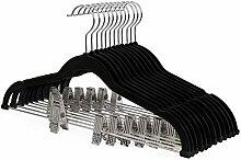 SONGMICS Kleiderbügel Hosenbügel Samt mit Steg und Clips 12 Stück Anzugbügel dünn, rutschfest, platzsparend um 360 drehbarer Haken für Anzüge/Hemden/Jacken/Mäntel 42,5 cm Schwarz CRF12B