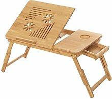 SONGMICS Laptoptisch aus Bambus, Notebooktisch,
