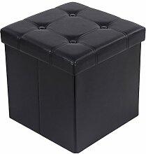 Songmics LSF30B Sitzhocker Sitzwürfel Fußbank faltbar, kunstleder, schwarz