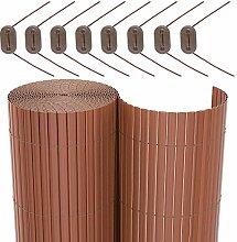 SONGMICS PVC Sichtschutzmatte Braun, 100 x 700 cm