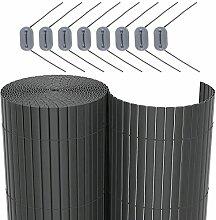 SONGMICS PVC Sichtschutzmatte Grau (100 x 500 cm) Sichtschutz für Garten Balkon und Terrasse GPF105G