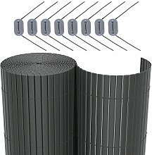 SONGMICS PVC Sichtschutzmatte Grau (90 x 500 cm) Sichtschutz für Garten Balkon und Terrasse GPF095G