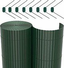 SONGMICS PVC Sichtschutzmatte grün (90 x 400 cm) Sichtschutz für Garten Balkon und Terrasse GPF094L
