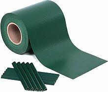 Songmics PVC Sichtschutzstreifen Zaunfolie 19 cm x 40 m extra dick blickdicht mit 25 x Befestigungsclips grün GPJ040L