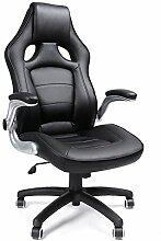 SONGMICS Racing Stuhl, ergonomischer Bürostuhl mit klappbaren Armlehnen und hoher Rückenlehne, höhenverstellbar, schwarz, OBG62B