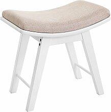 Songmics Schminkhocker Polsterhocker Sitzhocker Holzhocker Hocker für Schminktisch / Beine aus Kautschukholz mit konkaver Sitzfläche modernes Design weiß RDS51W