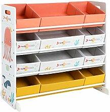 SONGMICS Spielzeugregal, Kinderzimmerregal mit 12