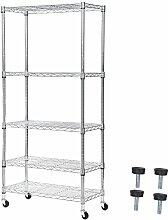 Songmics verchromtes Standregal Allzweckregal Garagenregal bis zu 600 kg belastbar 2 Arten der Verwendung: mit Füßen oder mit Rollen silbern 75 x 150 x 35 cm LGR05C
