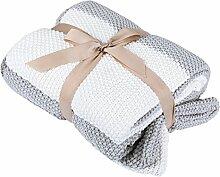 SONGMICS Wolldecke 100% Baumwolle, weich, kuschelig und anti-allergisch, Premium Decke mit einem Kissenbezug für Sofa, Bett, Outdoor, 127 x 153 cm RTHC02GW