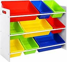 Songmics XL spielzeug regal Kinderregal Kinderzimmerregal mit Kippschutz 86 cm lang inkl. 3 große + 6 kleine Kästen GKR02W