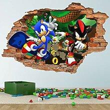 Sonic und Shadow Hedgehog 3D Wandtattoo Abnehmbare