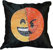 Sonicee Emoji-Kissen, wendbar, mit Pailletten,