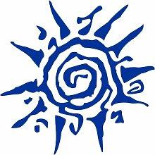 Sonne Aufkleber 001, 50 cm, blau