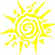 Sonne Aufkleber 001, 50 cm, gelb