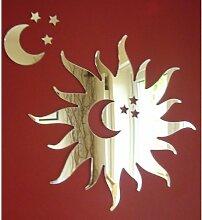 Sonne Spiegel mit Mond und Sterne 35cm x 35cm