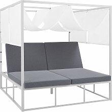 Sonnenbett Weiß / Grau mit Sonnendach Aluminium /