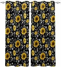 Sonnenblume Biene Blume schwarz Fenster Vorhänge