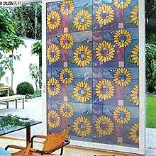 Sonnenblume fensteraufkleber,Küche schieben undurchsichtig tür aufkleber glas folie bad fenster aufkleber fenster papier für badezimmer-fenster-folie transparent -A 91x100cm(36x39inch)