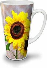 Sonnenblume Foto Natur Weiß Keramisch Latte Becher 17 oz | Wellcoda