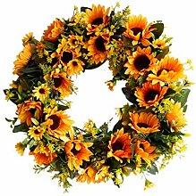 Sonnenblume grünes Blatt Rattan Kranz Herbst