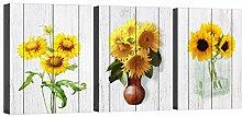 Sonnenblumen Holzbrett Leinwand Wandkunst gelbe