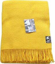 Sonnengelbe Wolldecke aus 100% neuseeländischer Schurwolle, ca 200x130cm mit Fransen, 850g