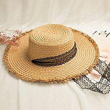 Sonnenhüte MEIDUO Khaki Frauen Outdoor-Sonnenschutz-Kappe Casual Urlaub zusammenklappbar breitkrempigen Hut Sommer Beige Visor Windproof Beach Hut Anti-UV-Khaki UPF 50 für Frauen (Farbe : Khaki)