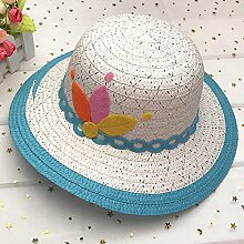 Sonnenhüte MEIDUO Kind Lässig Sommer Sonnenschutz Mütze Holiday Visier Anti-UV Winddichte Mütze Outdoor Sommer Hut Beach Hut blau Pink Orange gelb Khaki lila UPF 50 für Frauen (Farbe : Blau)