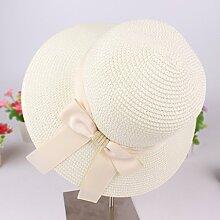 Sonnenhut Beach Cap Süßer Sonnenschutz Faltbarer Damen Breathable Sun Hat ( Farbe : Weiß )